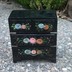 Vintage Japanese Black Hand Painted Jewelry Box